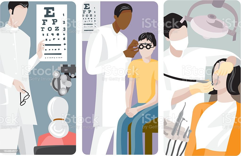 Medical procedures are illustrated through a vector series royalty-free stock vector art