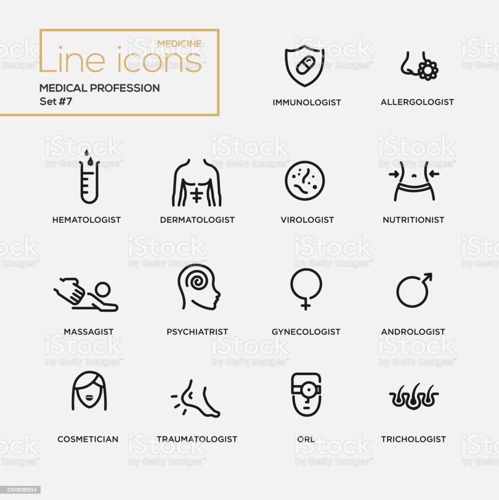 Medical profession simple thin line design icons, pictograms set vector art illustration
