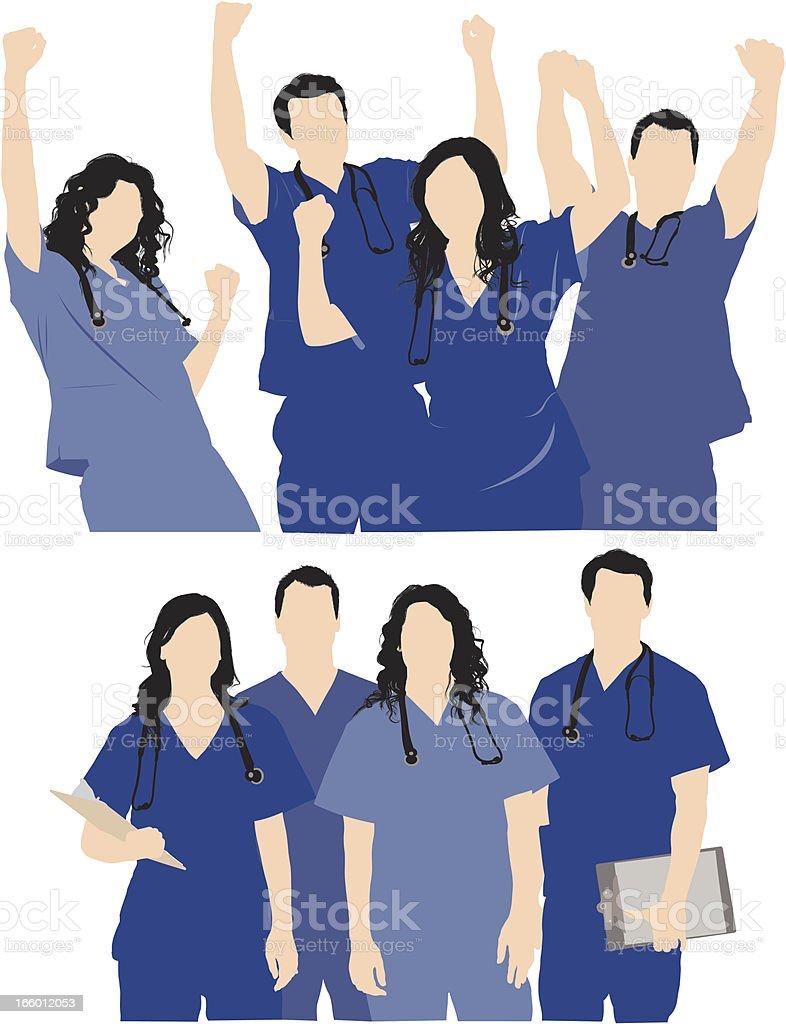 Medical professionals team vector art illustration