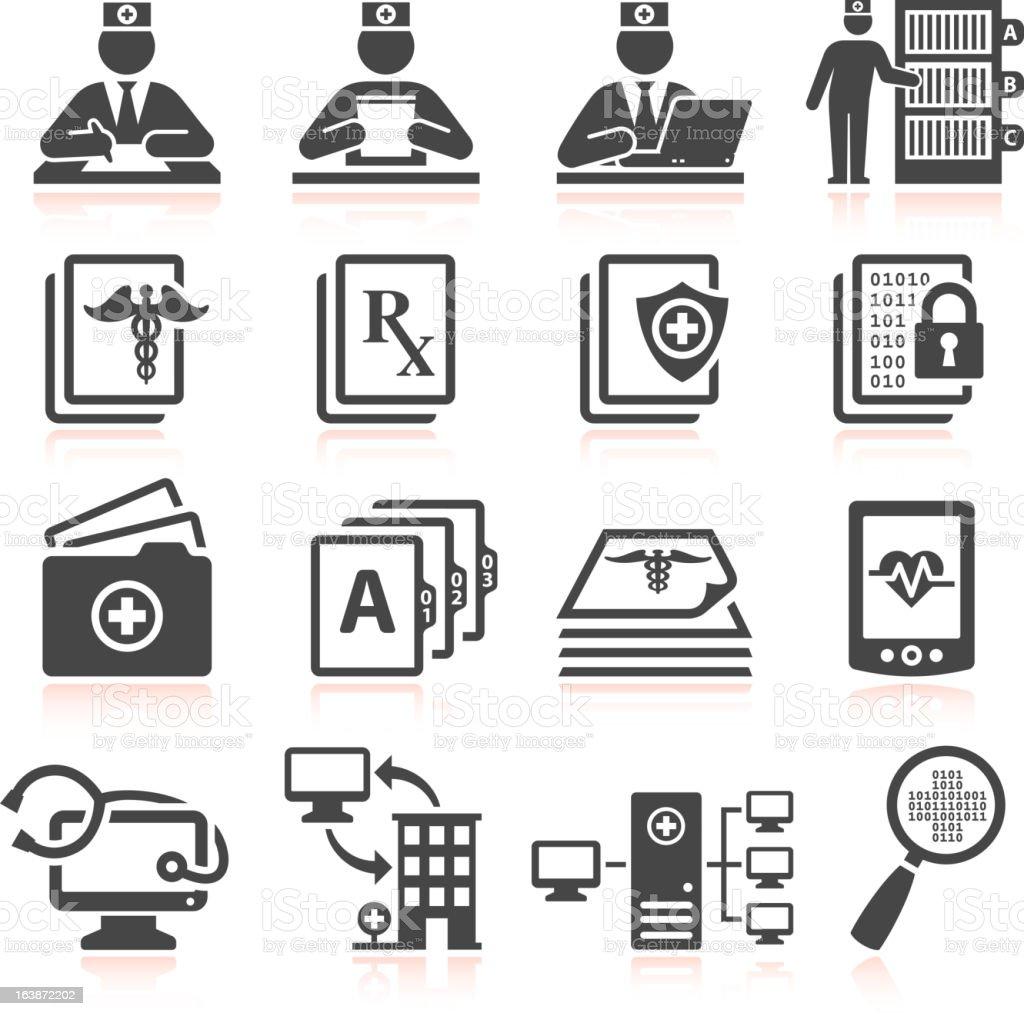 Medical Records black & white icon set vector art illustration