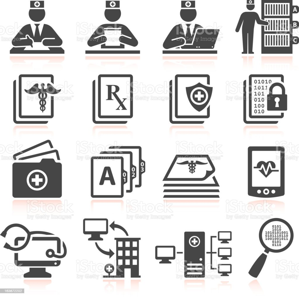 Medical Records black & white royalty free vector icon set vector art illustration