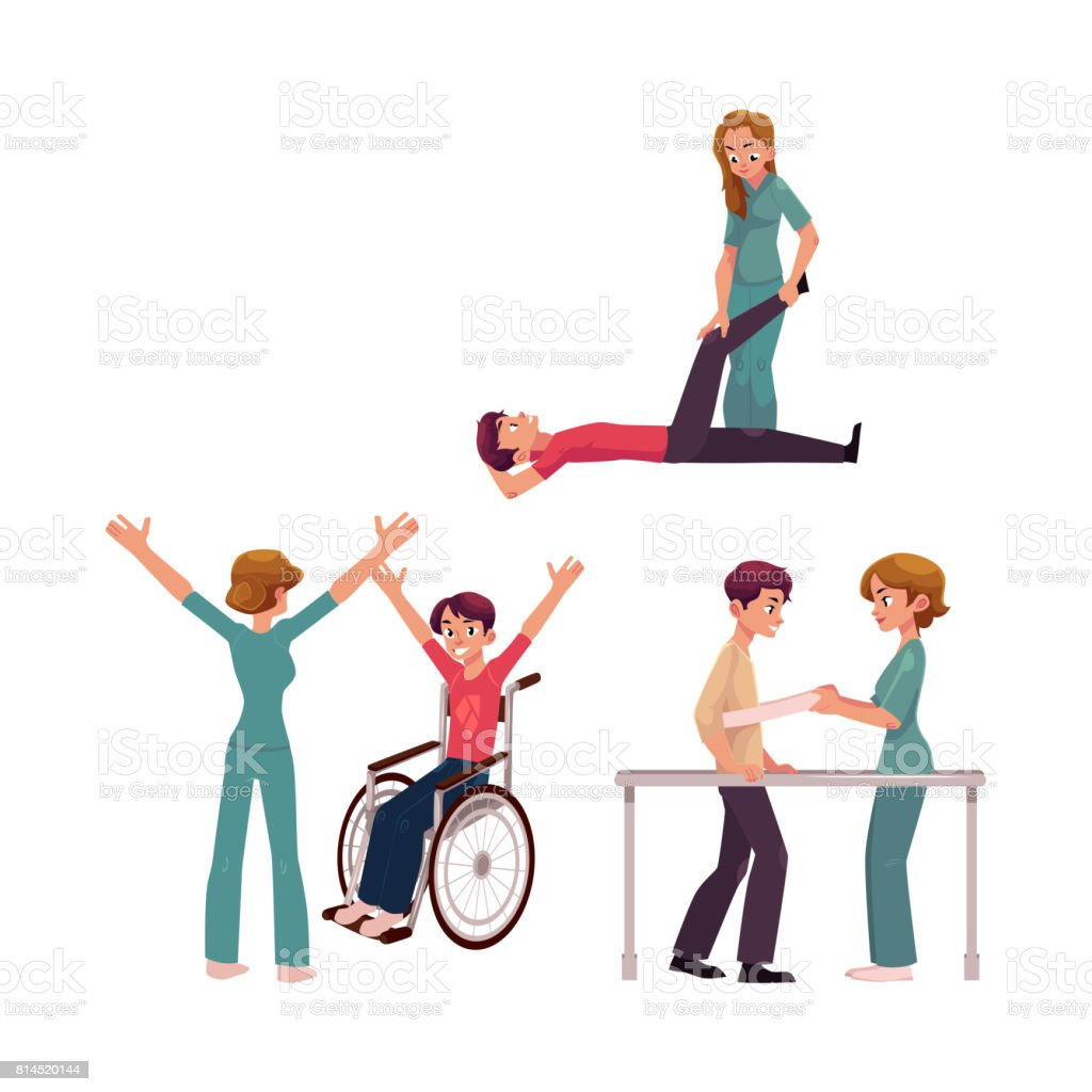 Cartoon physical therapy - Medical Rehabilitation Physical Therapy Activities Physiotherapist Working With Patients Royalty Free Stock Vector