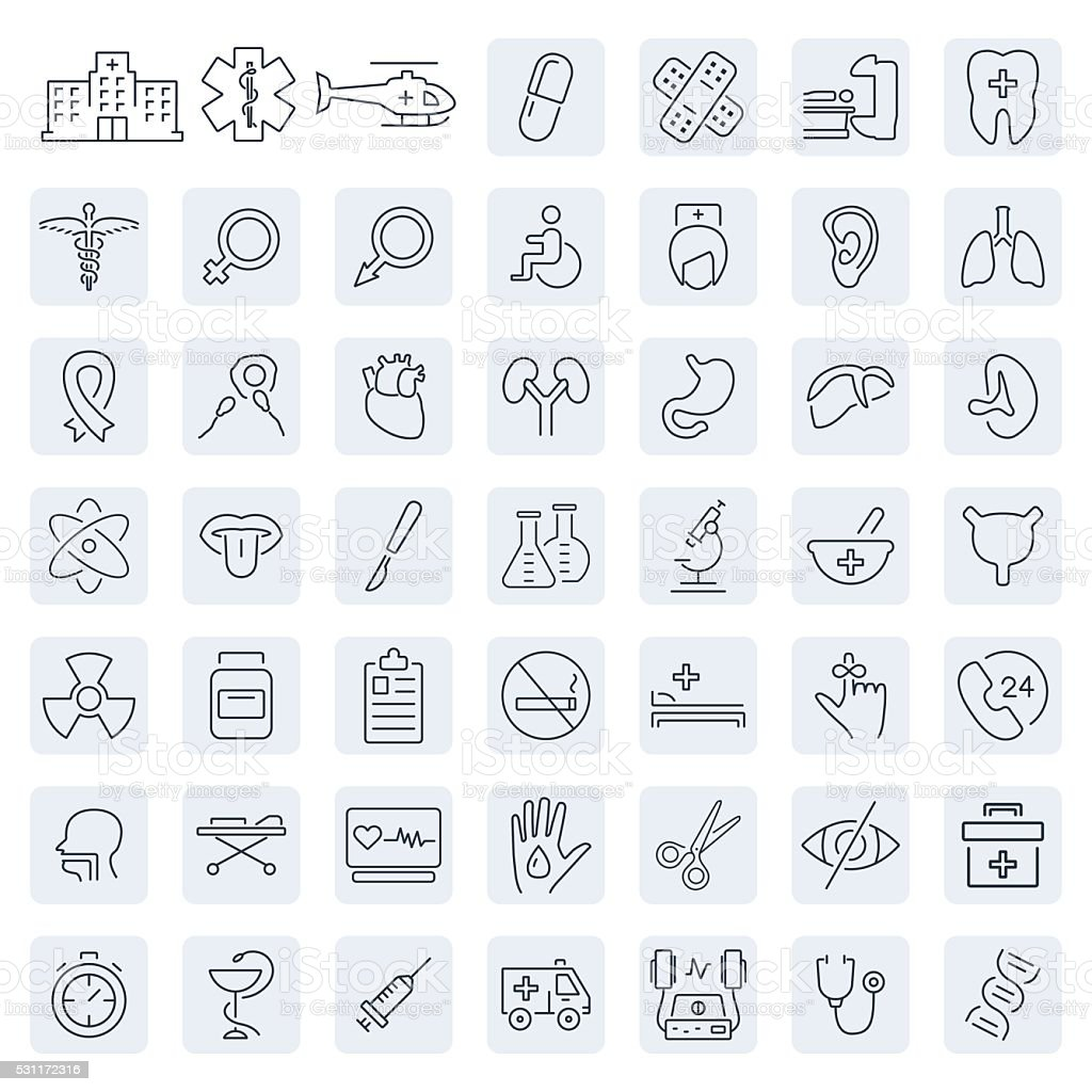 Medical related icon set in thin line style.Vector symbols. vector art illustration