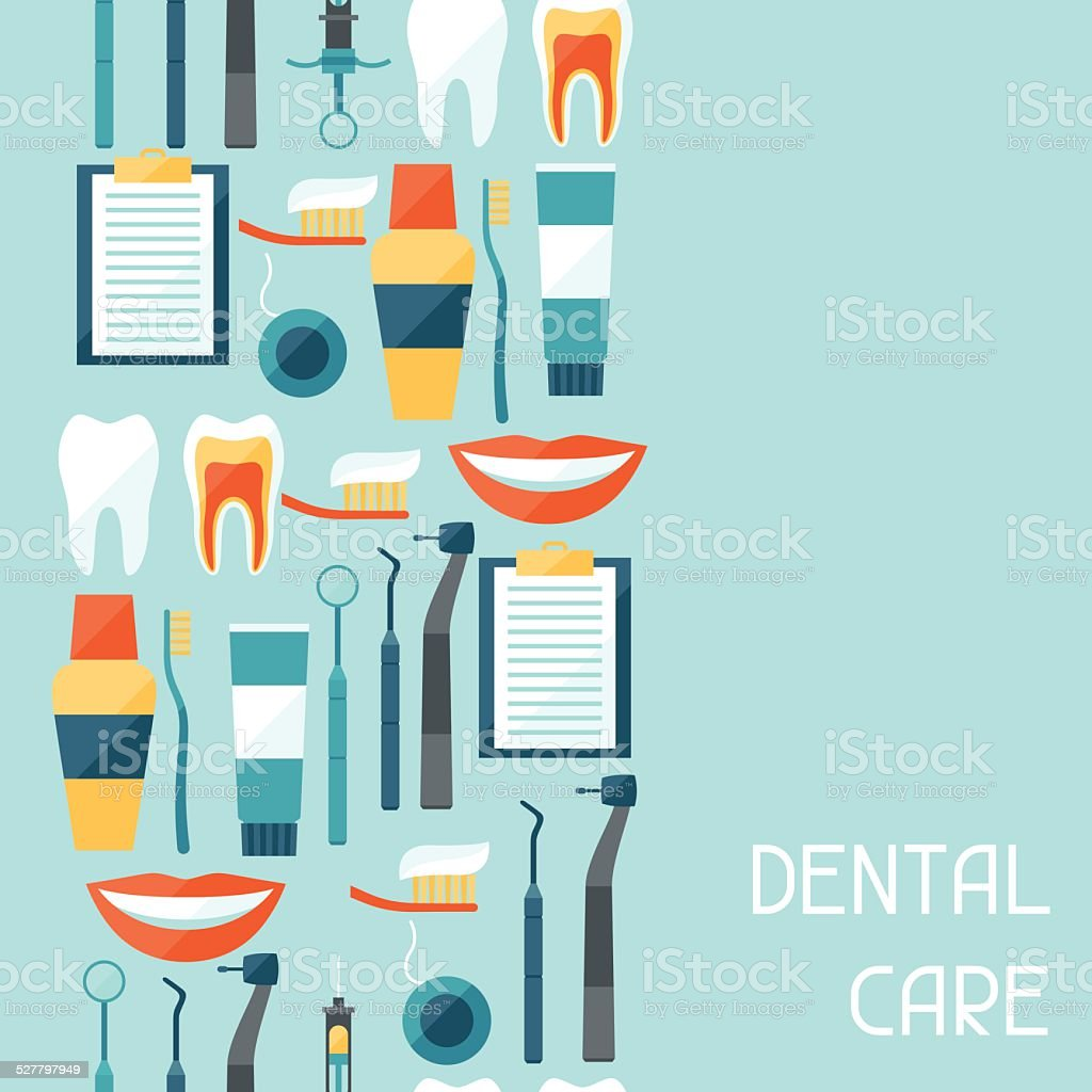 Medical seamless pattern with dental equipment icons. vector art illustration