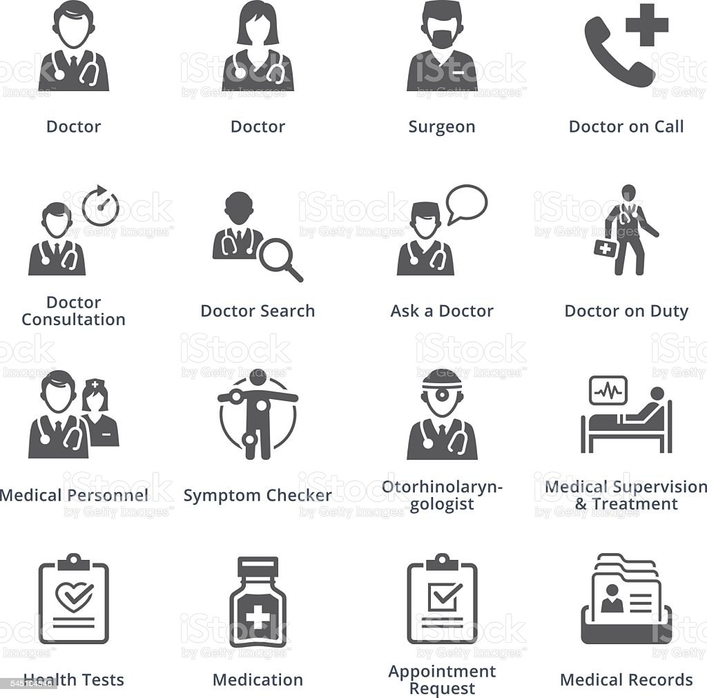 Medical Services Icons Set 3 - Black Series vector art illustration