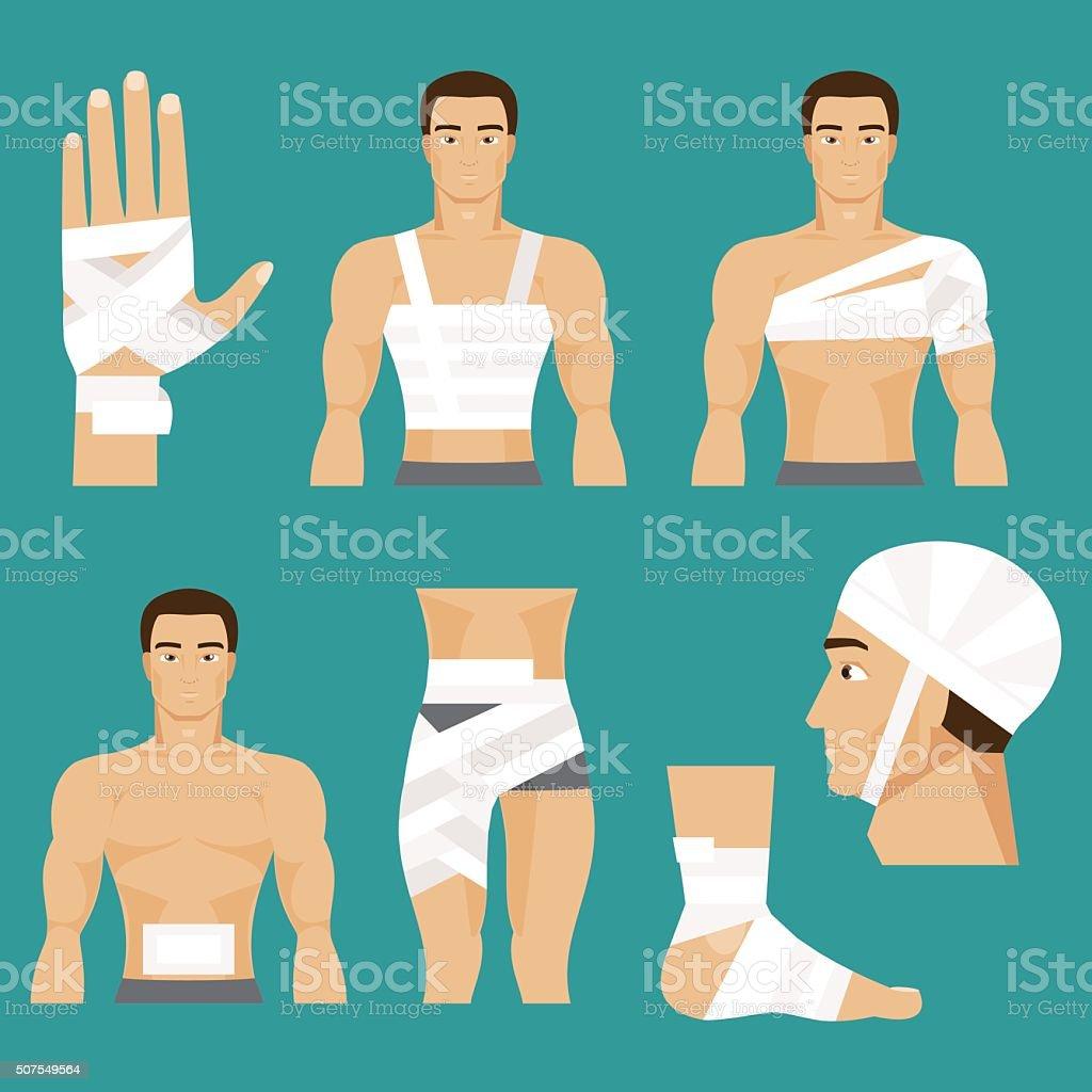 Medical set bandaged body parts vector art illustration
