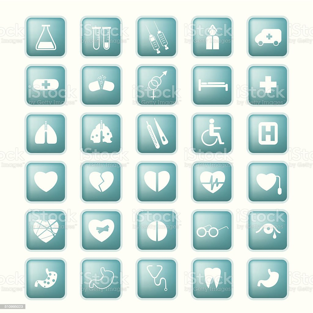 Medical set icon. Vector buttons. vector art illustration