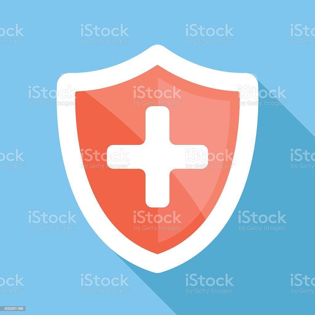 Medical shield long shadow vector flat icon vector art illustration