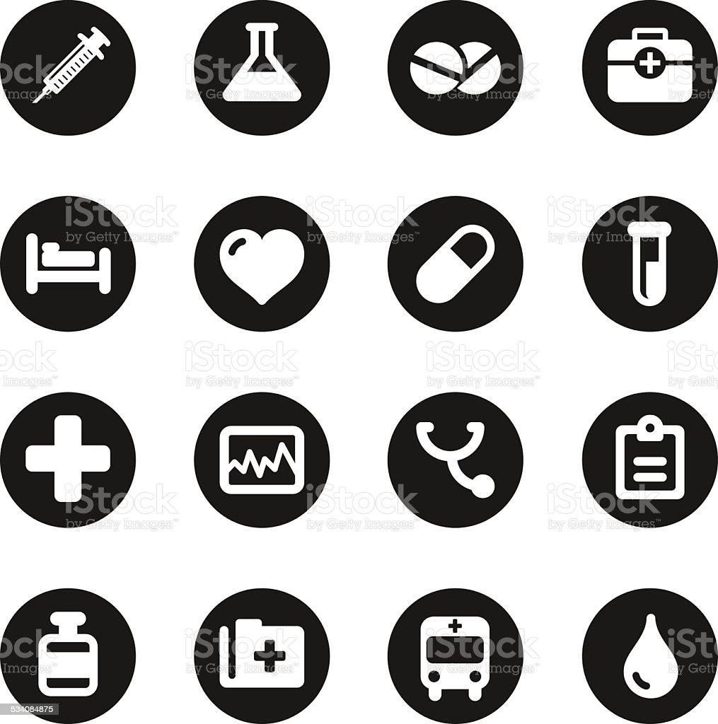 Medical Sign Icons - Black Circle Series vector art illustration