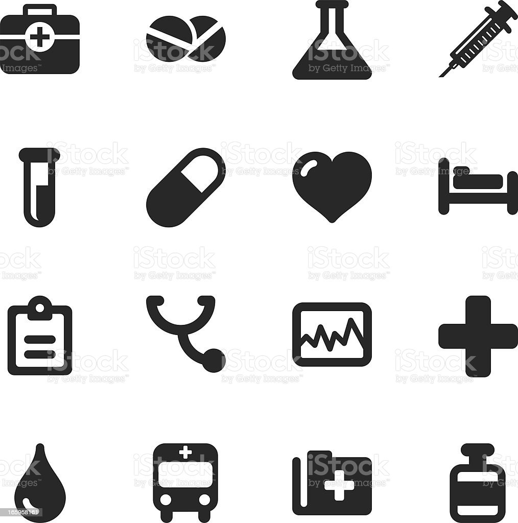 Medical Sign Silhouette Icons vector art illustration