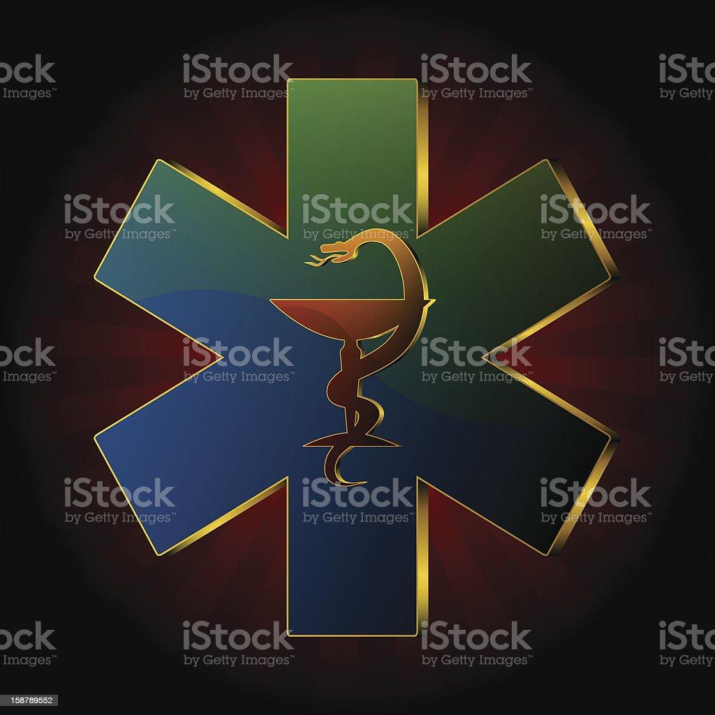 medical snake (blue theme) royalty-free stock vector art