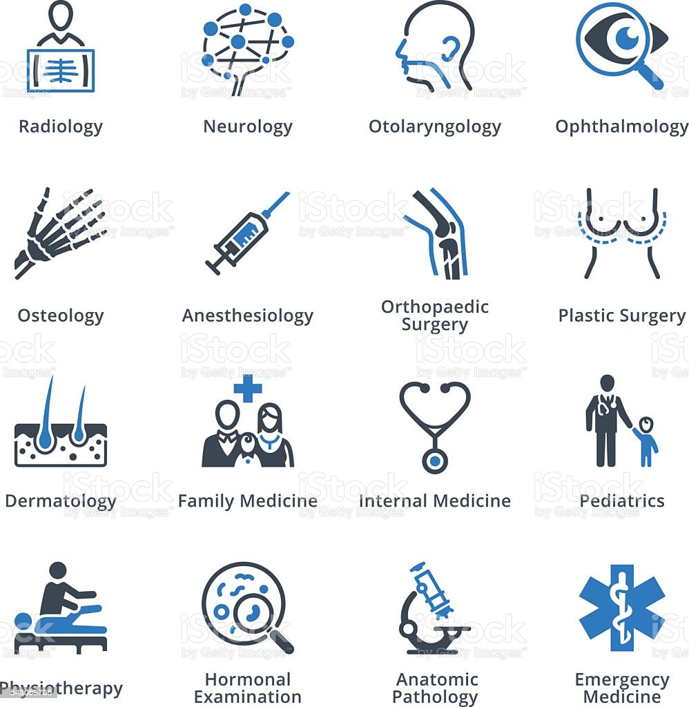 Medical Specialties Icons Set 3 - Blue Series vector art illustration