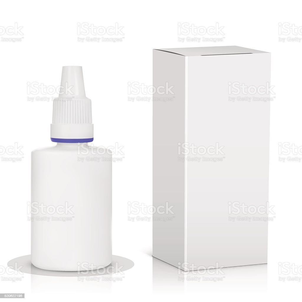 Medical spray bottle with paper package vector art illustration