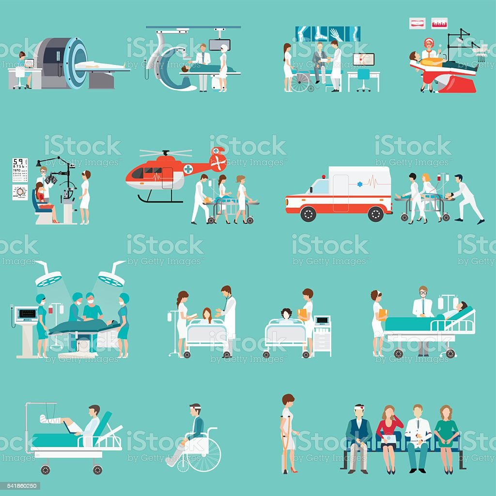 Medical Staff And Patients Different character in hospital. vector art illustration
