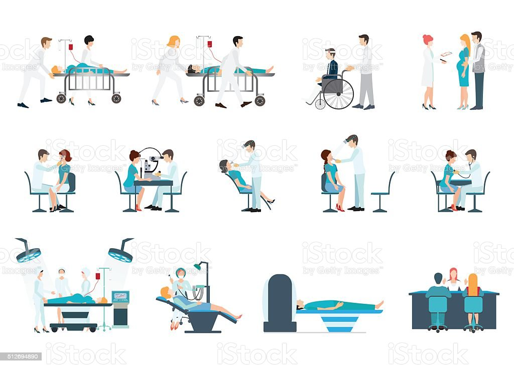 Medical Staff And Patients Different Situations Set in hoapital. vector art illustration