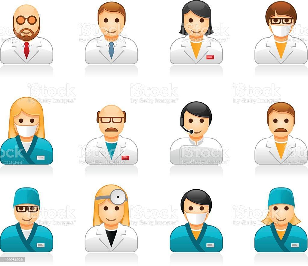 Medical staff avatars - user icons of doctors and nurses vector art illustration
