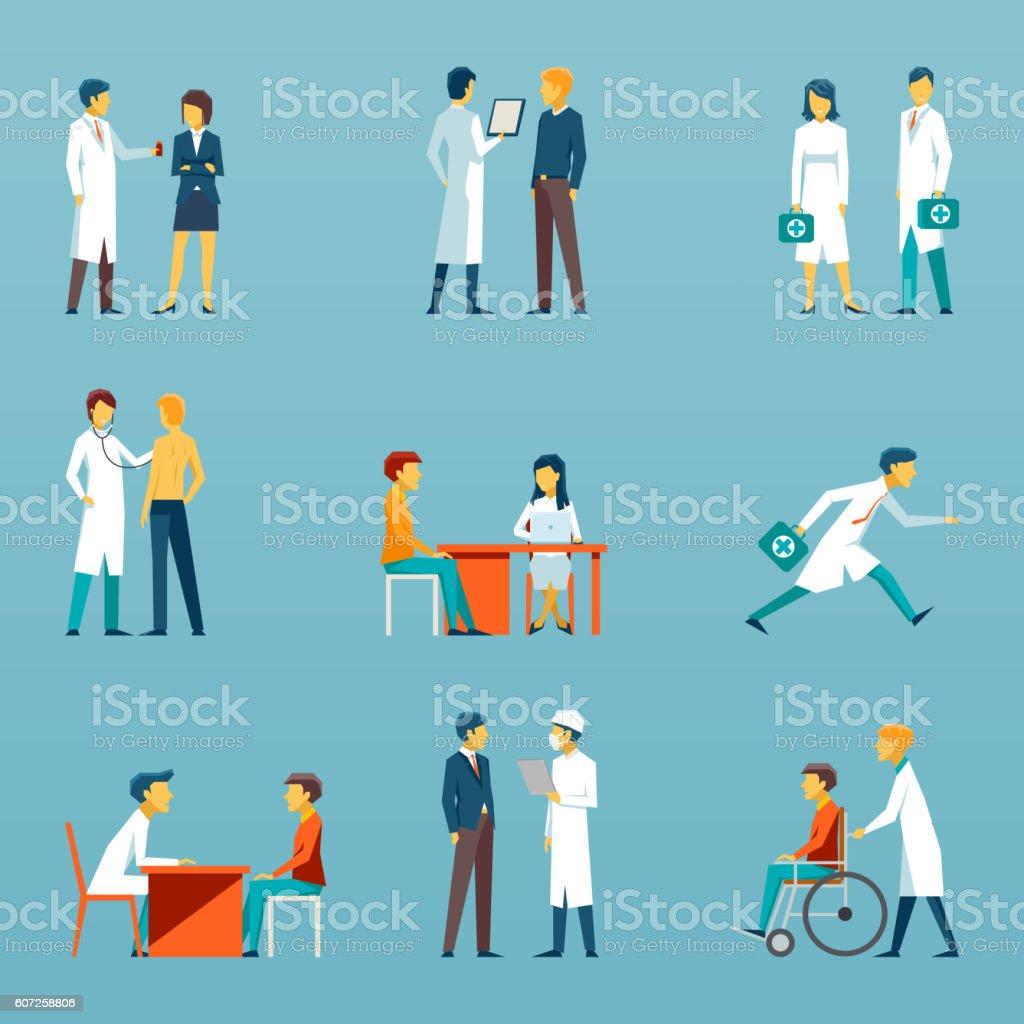 Medical staff flat vector icons. Health care set vector art illustration