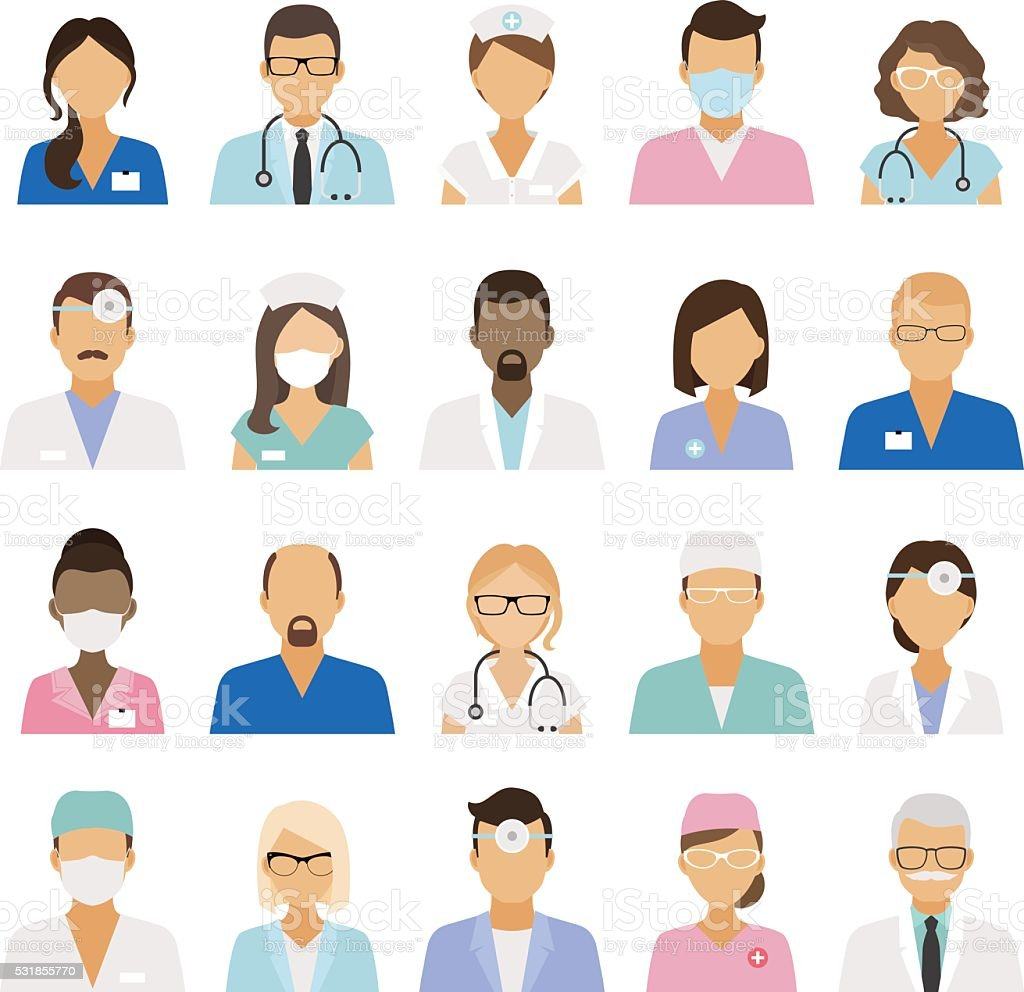 Medical staff icons vector art illustration