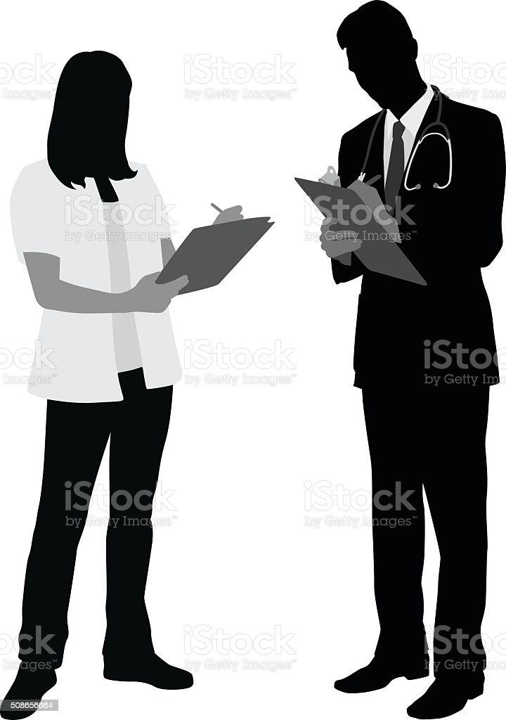 Medical Staff Taking Notes vector art illustration