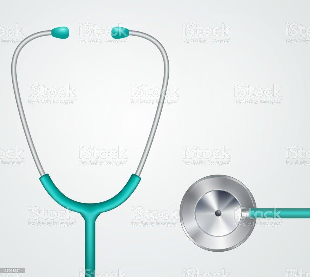 Medical stethoscope, phonendoscope equipment. vector art illustration