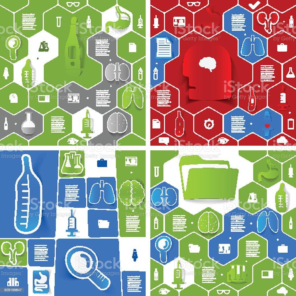 Medical sticker infographic vector art illustration
