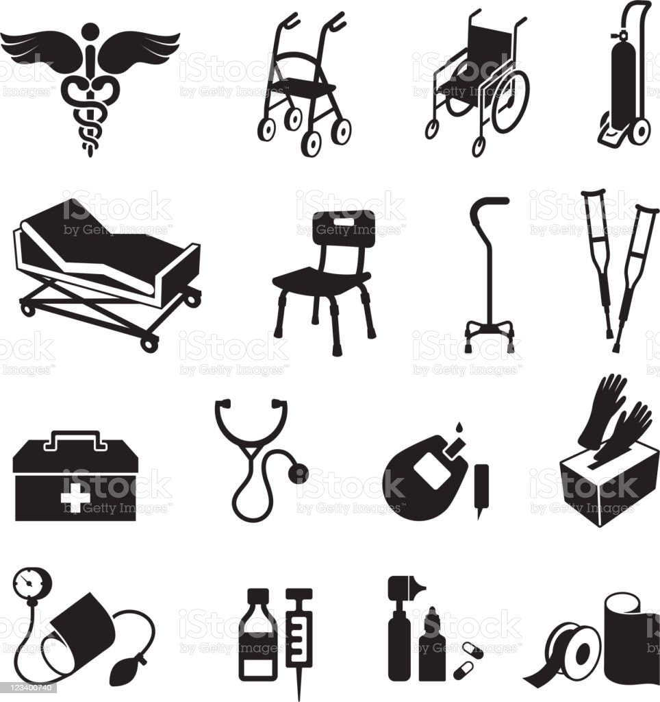 medical supplies black & white royalty free vector icon set vector art illustration
