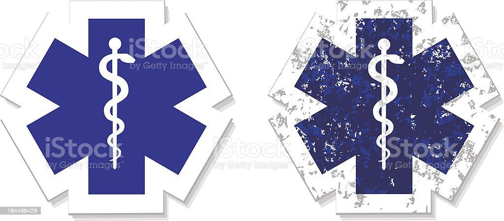 Medical symbol of the Emergency grunge sticker vector art illustration
