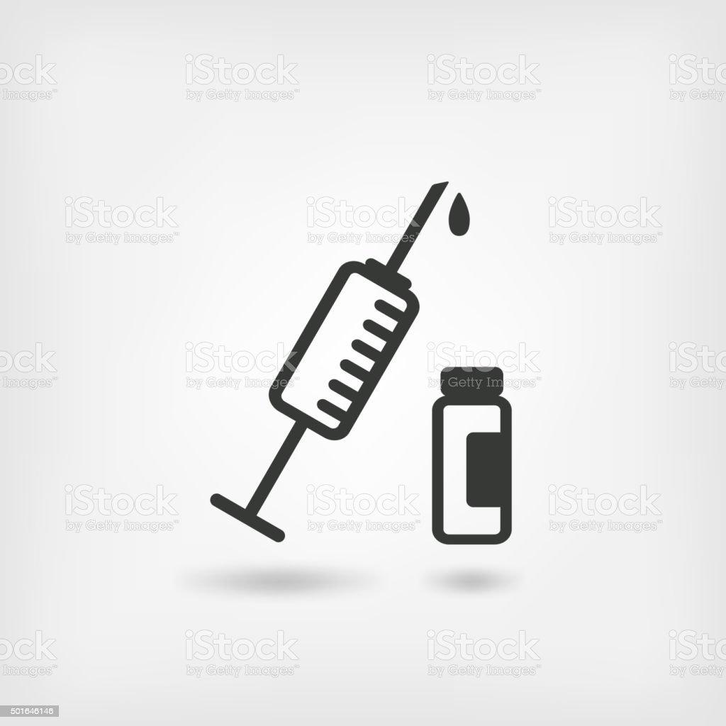medical symbol. syringe and vial vector art illustration