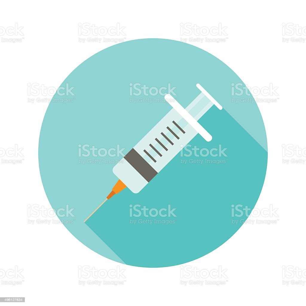 Medical syringe vector flat style icon on round badge vector art illustration