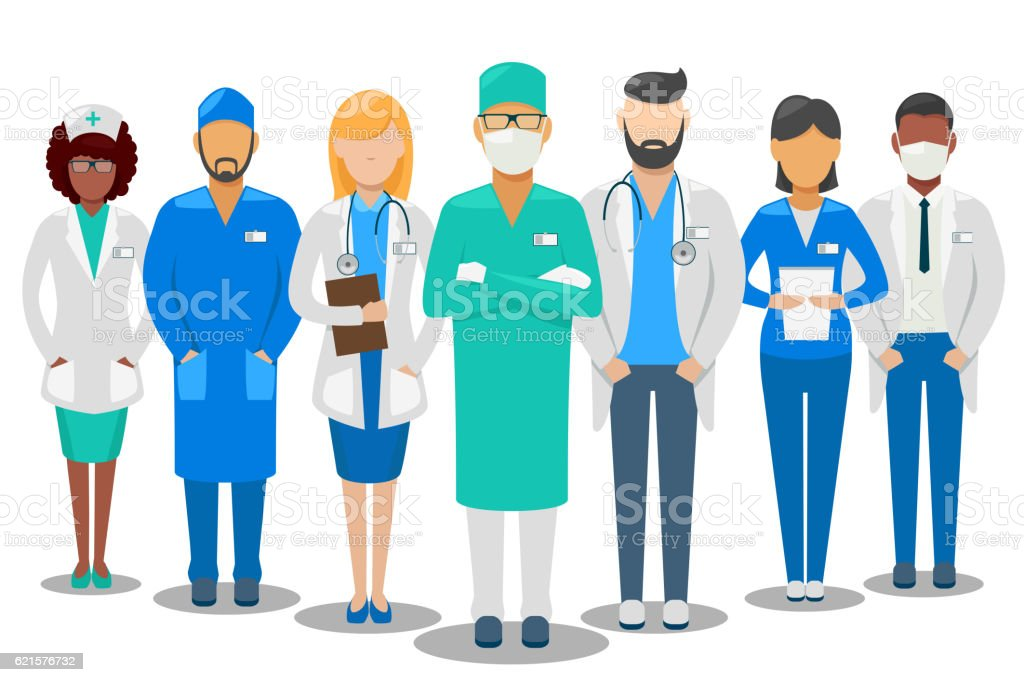 Medical team. Hospital staff vector illustration vector art illustration
