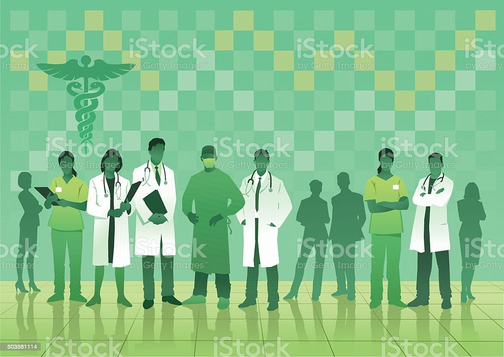 Medical Team in Green on Checked Background vector art illustration