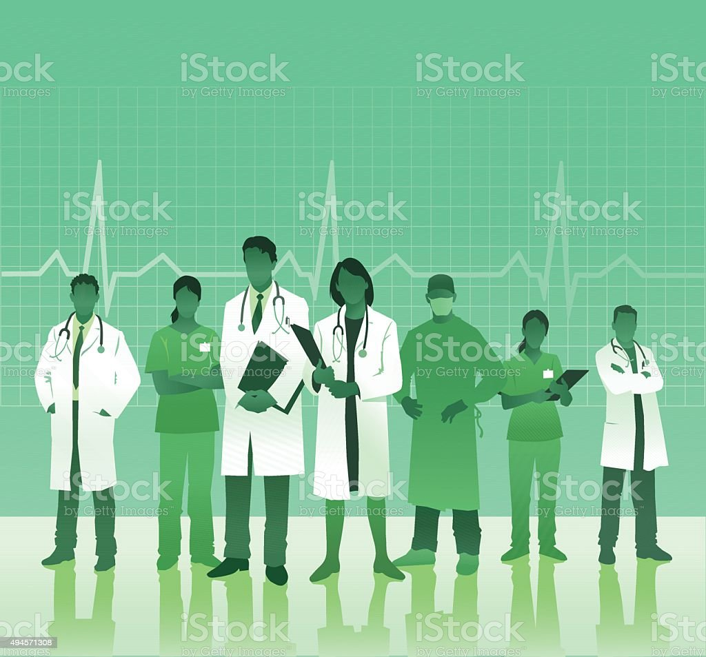 Medical Team With Copy Space vector art illustration