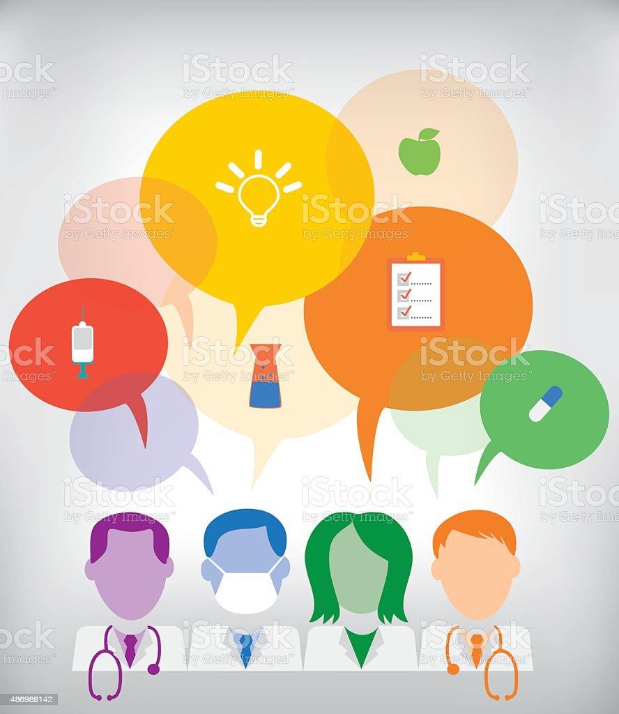 Medical team with speech bubbles sharing ideas vector art illustration