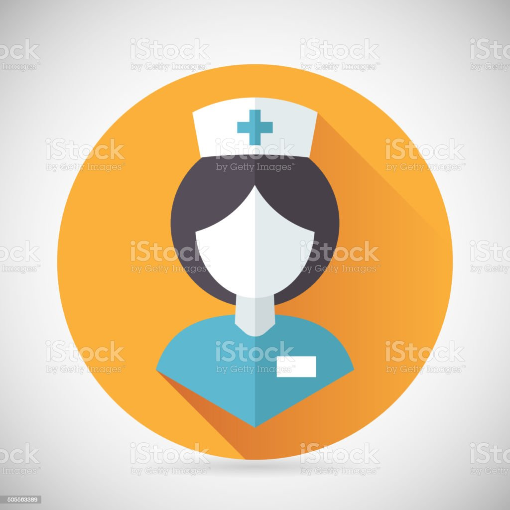 Medical Treatment Nurse Symbol Female Physician Icon with long shadow vector art illustration