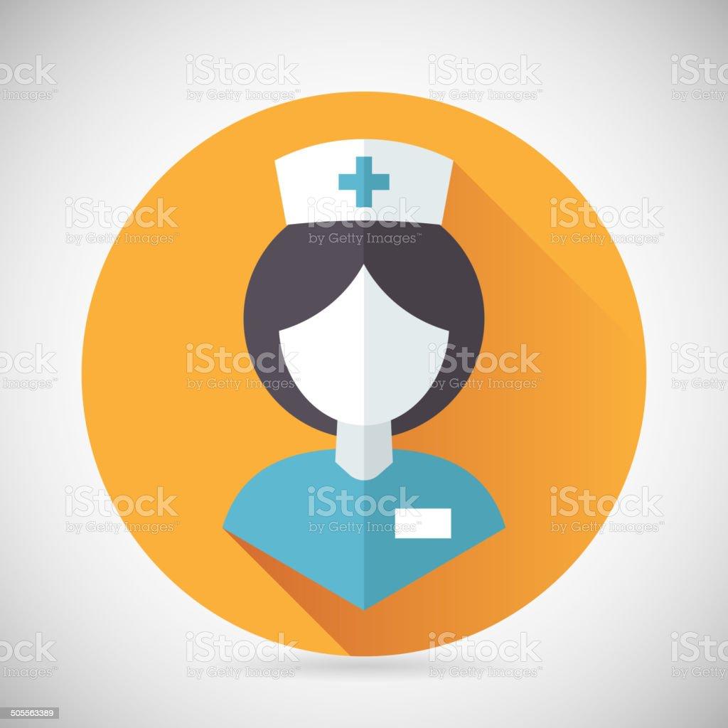 Medical Treatment Nurse Symbol Female Physician Icon with long shadow vector art illustration