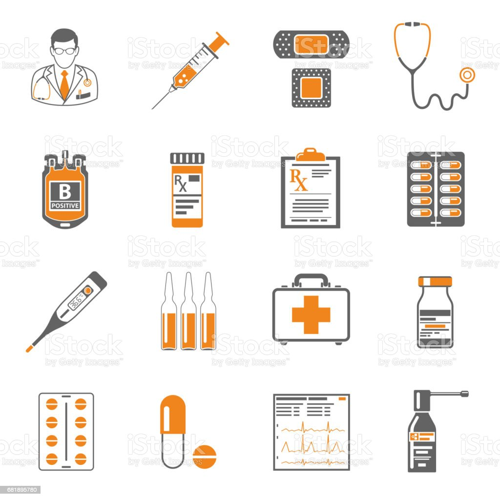 Medical two color icons set vector art illustration