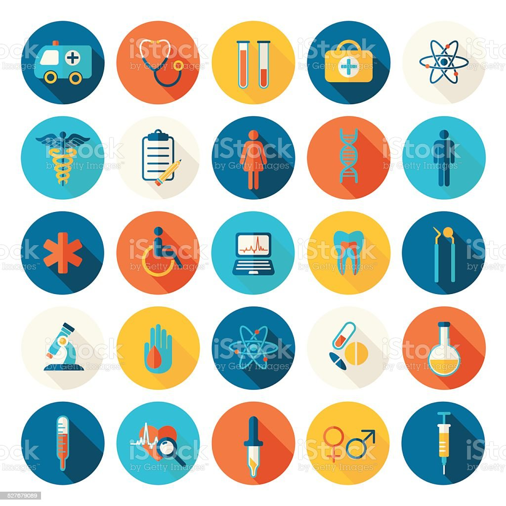 Medical vector colorful flat icons set vector art illustration