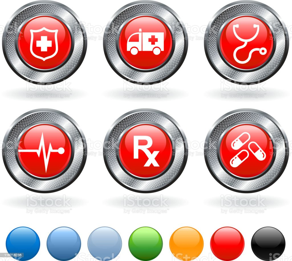 Medical vector icon set on buttons with metallic border royalty-free stock vector art
