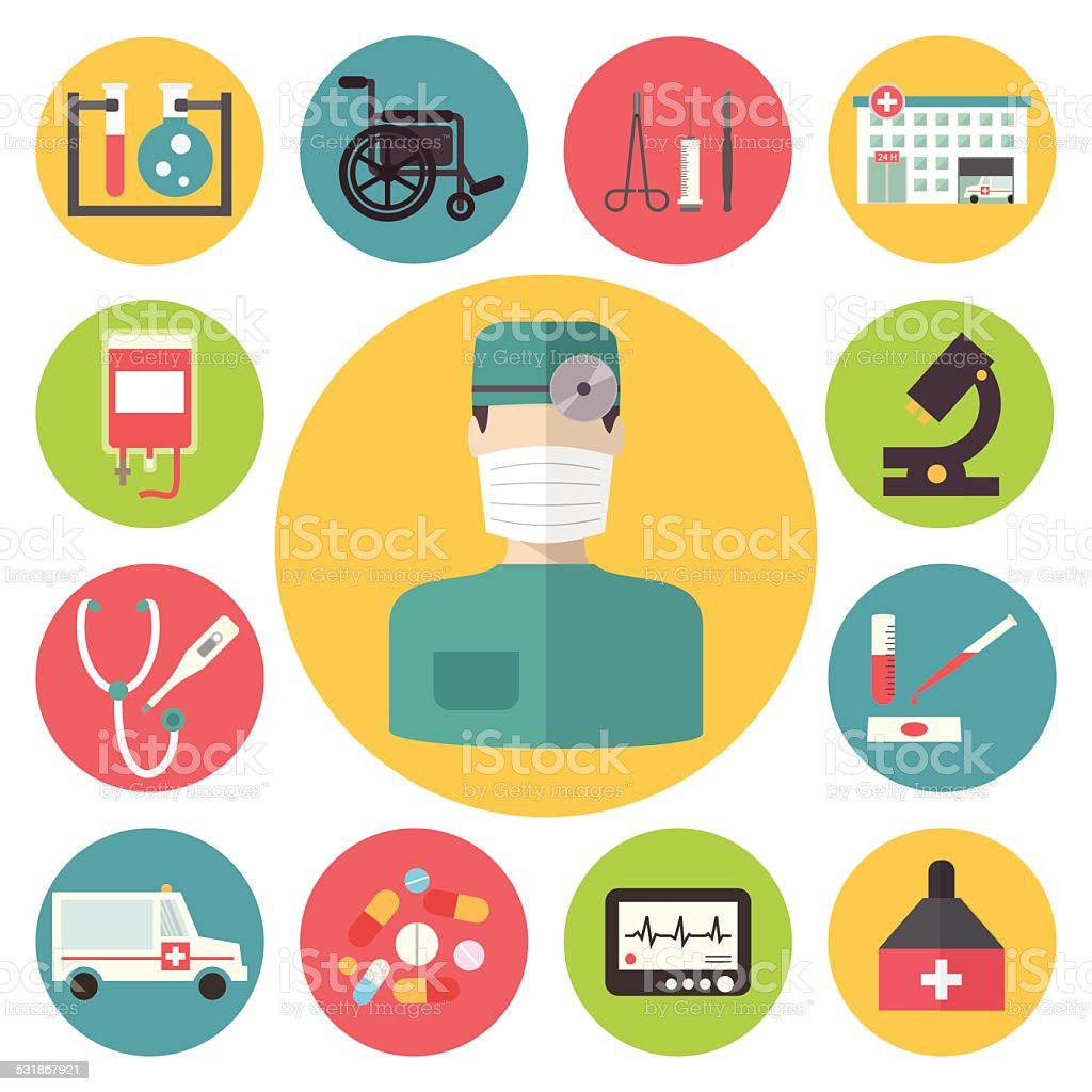 Medical vector icons set. Healthcare infographic elements. vector art illustration