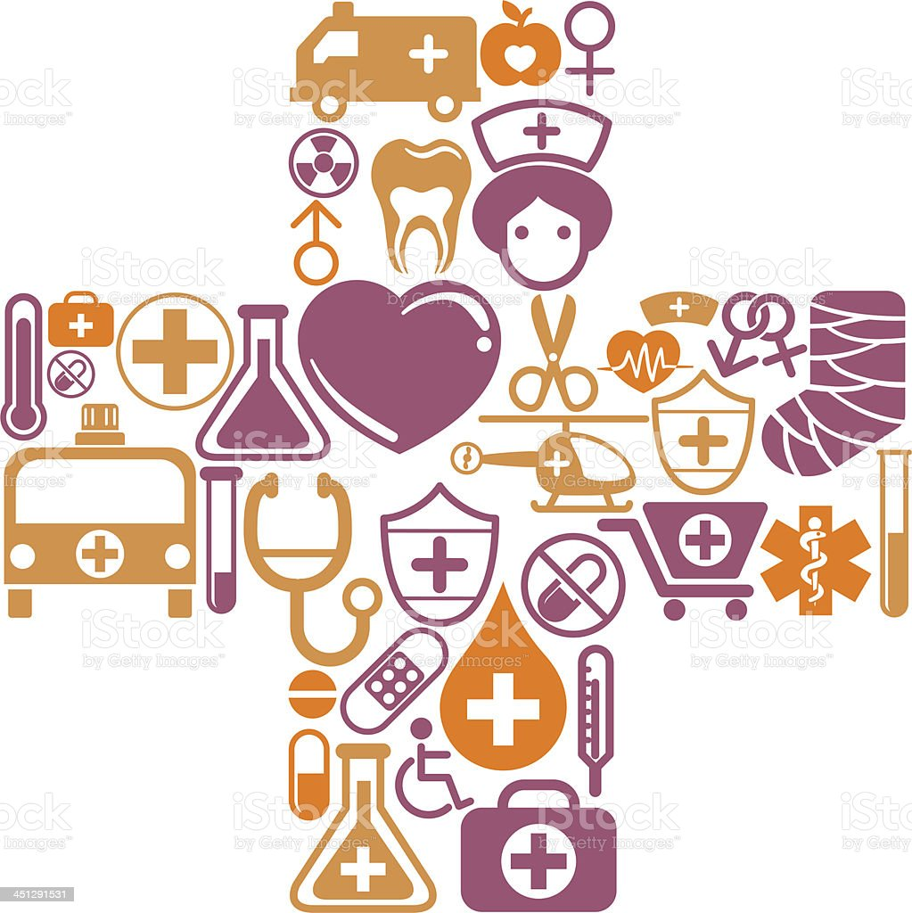 Medical vector images in a plus shape royalty-free stock vector art