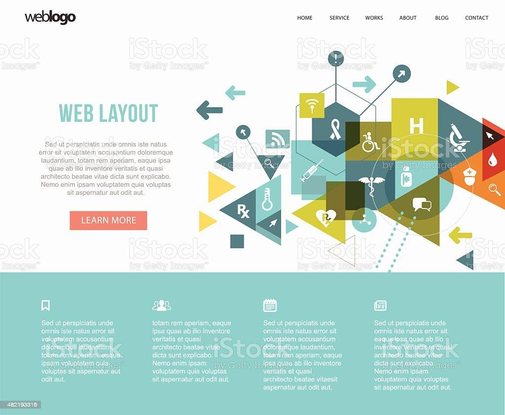 Medical web layout vector art illustration