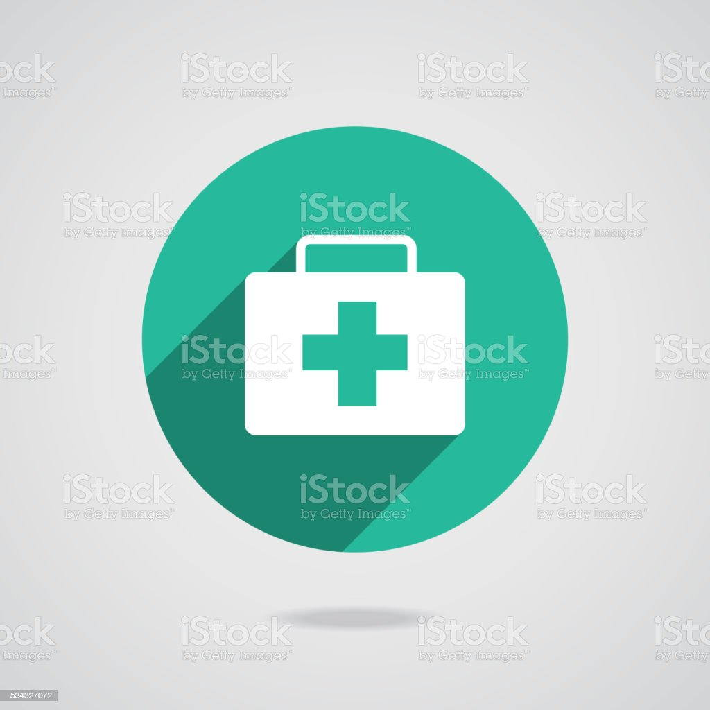 Medical white icon. Green button on gray background vector art illustration
