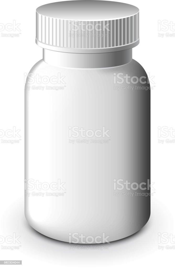 Medical white plastic bottle isolated vector vector art illustration