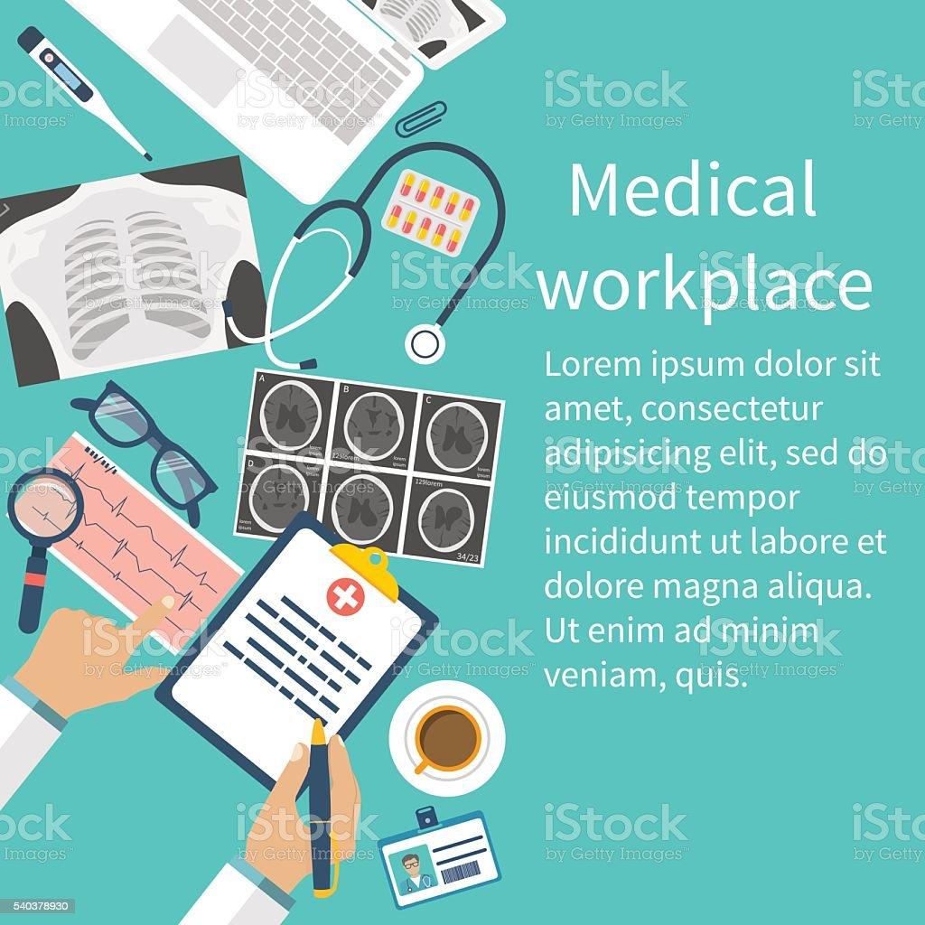 Medical workplace. Flat design vector vector art illustration