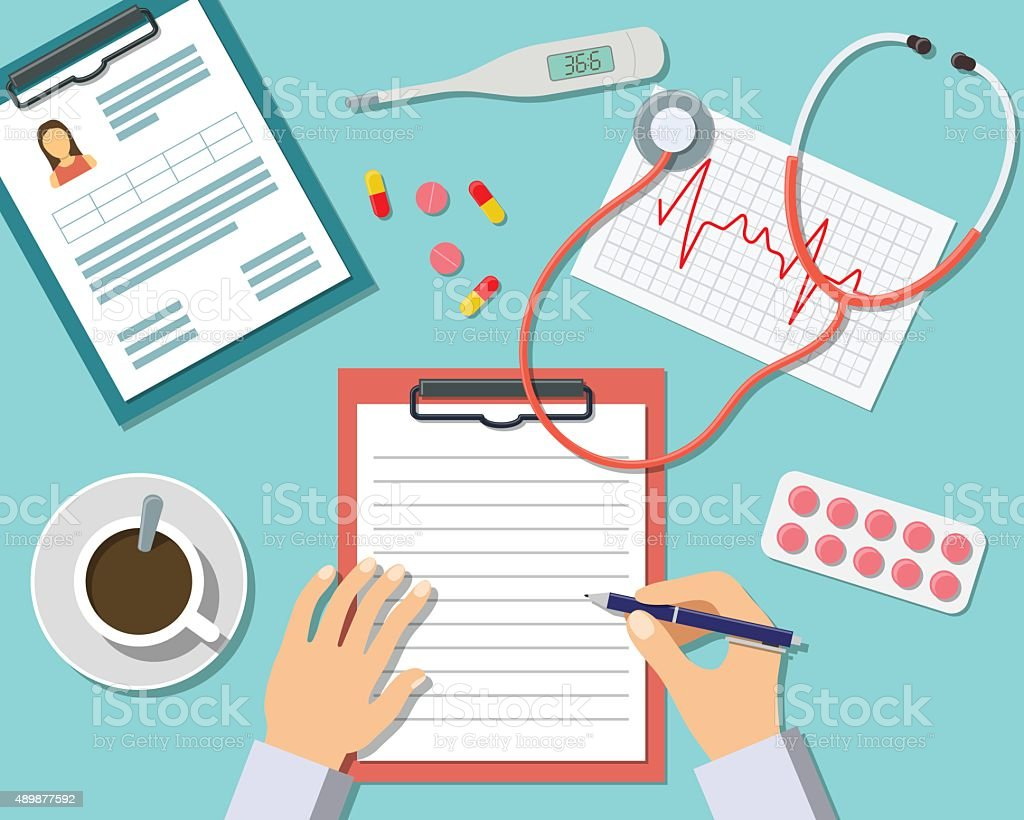 Medical Workplace vector art illustration