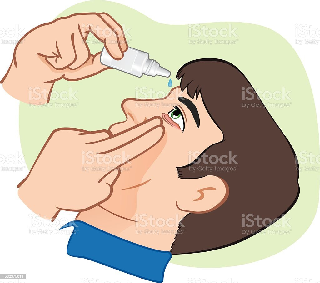 Medication eye drops to drip in irritated eyes. vector art illustration