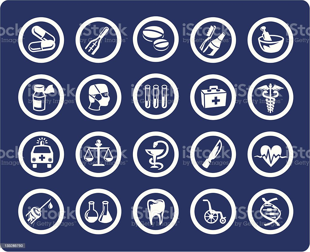 Medicine and Health 20 vector icons (set #06) royalty-free stock vector art