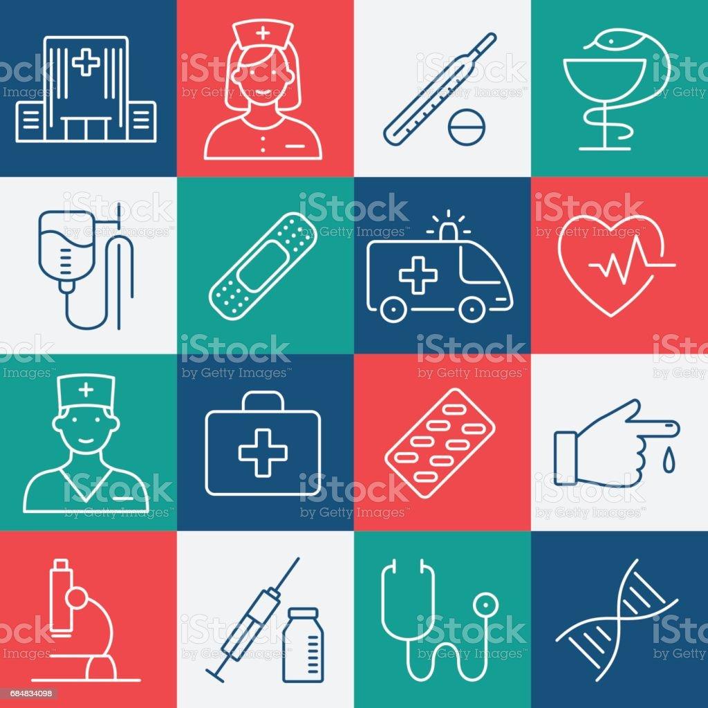 Medicine and Health symbols. Vector thin lines web icon set vector art illustration