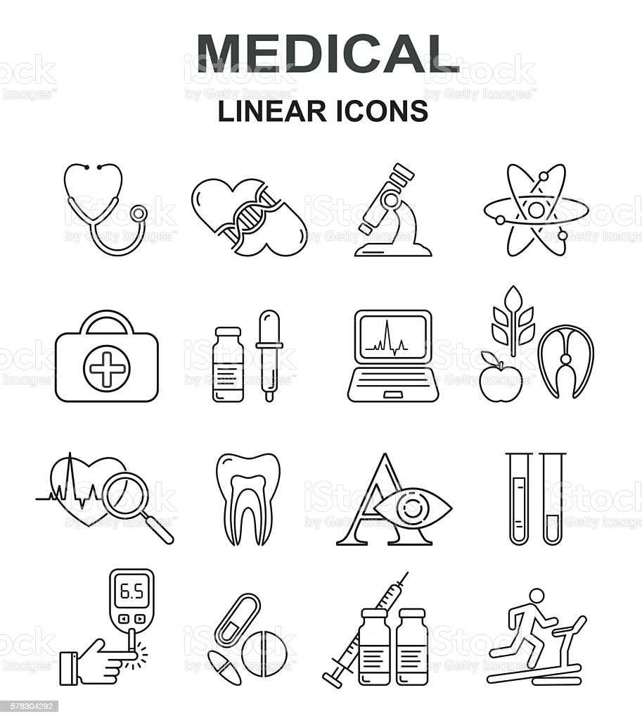 Medicine and health vector black line style icon set. vector art illustration
