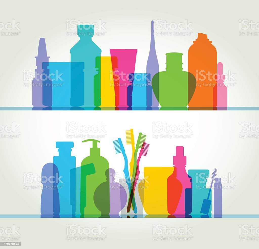 Medicine and health/beauty products vector art illustration
